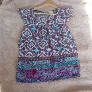 Anthro Meadow Rue Size 0 Print Flauter sleeves Top